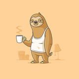 Fototapeta Fototapety na ścianę do pokoju dziecięcego - Sad sloth cartoon character holding cup of morning coffee vector illustration