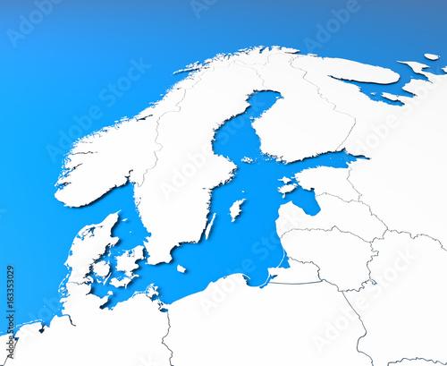 3D North Europe map – kaufen Sie diese Illustration und ...