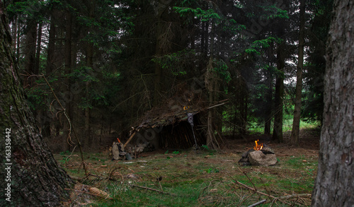 Shelter in forest. Canvas Print