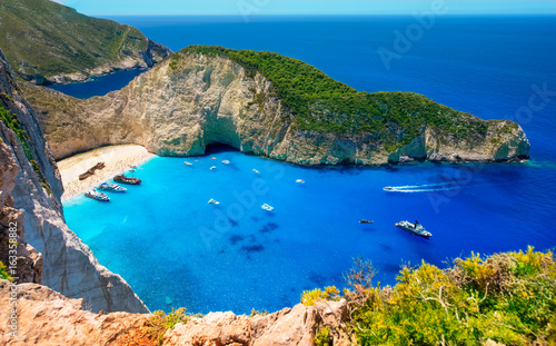 Photo Visiting card of the island of Zakynthos. Bay Navagio.