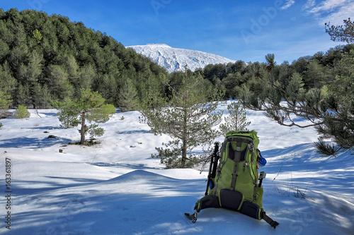 Fototapeta Backpacking In Winter Etna Park, Sicily
