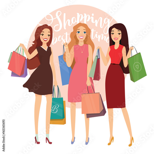 52828495b18 Happy beautiful women with shopping. Three ladys with shopping bags ...