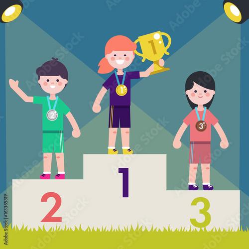 Fotografie, Tablou  Sport kids on pedestal with trophy cup