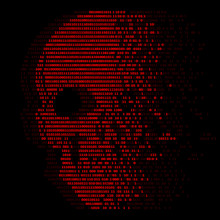 Red Skull Digital Logic Zero And One Number For Virus Security Abstract Vector Design