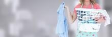Cleaner  Holding Laundry Baske...