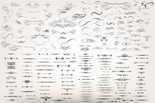 Huge Set Or Collection Of Vector Filigree Flourishes For Design