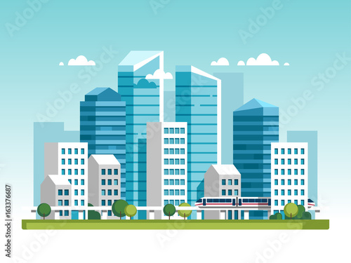 Cadres-photo bureau Cartoon voitures Urban landscape with high skyscrapers and subway. Vector illustration.