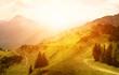 canvas print picture - Panoramablick auf die Tiroler Alpen zum Sonnenuntergang