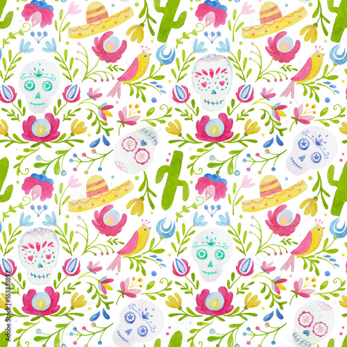 Watercolor vector mexican style pattern Fototapeta