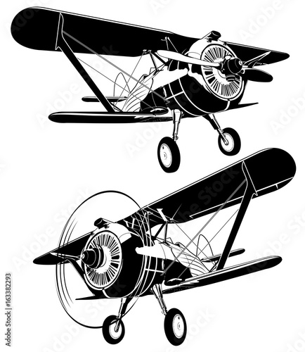 retro biplane silhouettes set Canvas Print