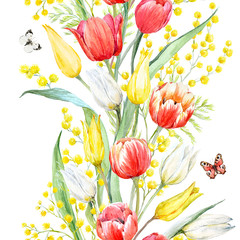 Fototapeta Tulipany Watercolor mimosa and tulip pattern