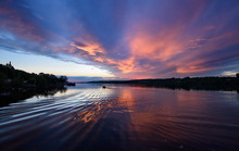 Summer Sunset On The Volga River. European Part Of Russia. Small Town Of Ples.