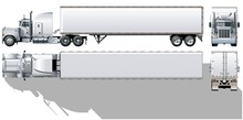Hi-detailed Commercial Semi-truck Available EPS-10 Separated By Groups And Layers For Easy Edit