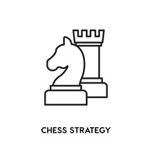 Chess Strategy Vector Icon, Gr...