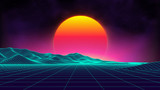 Retro background futuristic landscape 1980s style. Digital retro landscape cyber surface. Retro music album cover template : sun, space, mountains . 80s Retro Sci-Fi Background Summer Landscape.