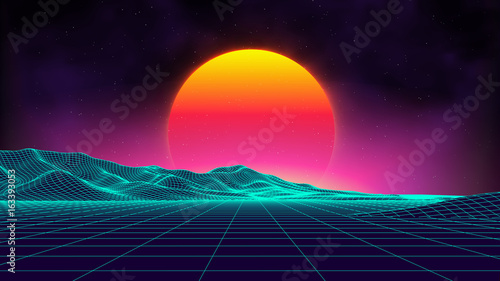 Retro background futuristic landscape 1980s style digital - Space 80s wallpaper ...