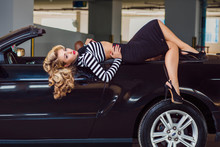 Pin Up Style Girl Sits In The ...