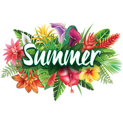 Naklejka Egzotyczne Summer banner from tropical flowers
