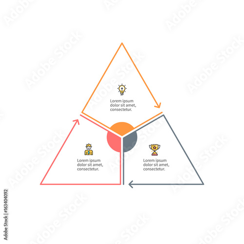 Outline triangle with 3 parts, sections for infographics. Fototapet