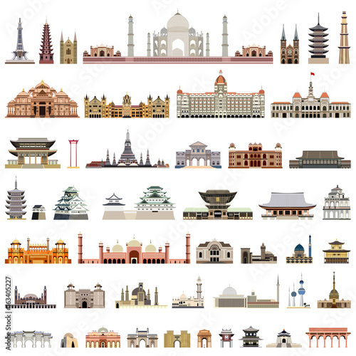 Photo  collection of isolated vector temples, towers, cathedrals, pagodas, mausoleums