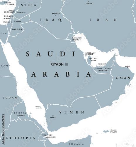 Photo Saudi Arabia political map with capital Riyadh