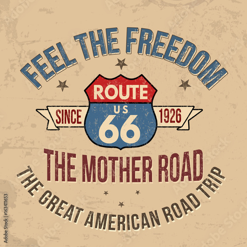 Route 66 typography for t-shirt print Canvas Print