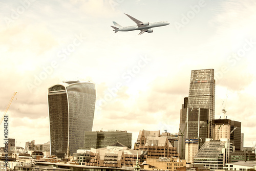 Airplane over London Canvas Print