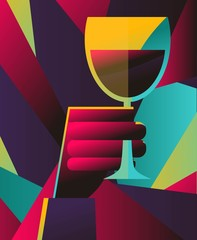 Fototapeta Do gastronomi colorful hand holding a cup of wine