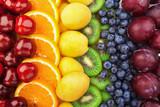 Fototapeta Tęcza - Colorful fruits rows