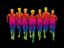 Marathon Runners, Group Of Peo...