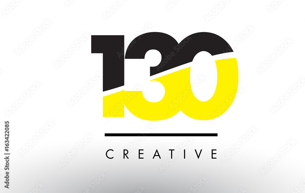 Fotografía  130 Black and Yellow Number Logo Design.