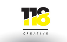 118 Black And Yellow Number Logo Design.