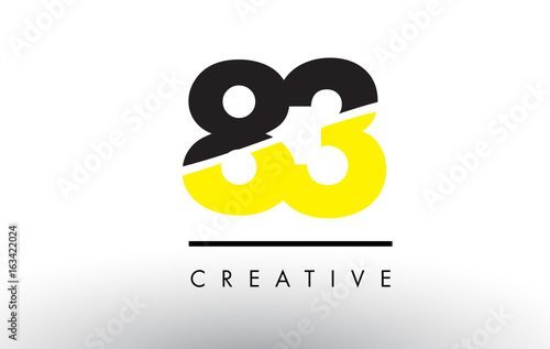 Papel de parede  83 Black and Yellow Number Logo Design.
