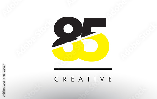 Papel de parede  85 Black and Yellow Number Logo Design.