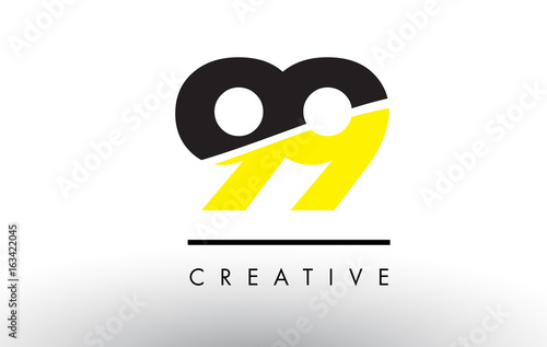 Photographie  99 Black and Yellow Number Logo Design.