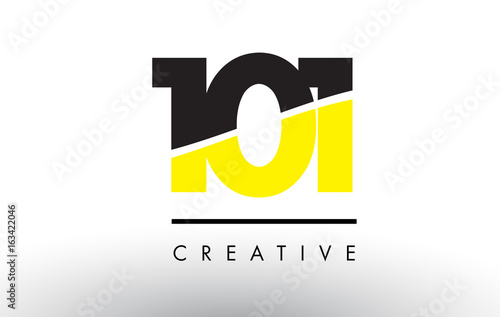 Photo 101 Black and Yellow Number Logo Design.