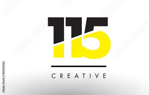 Tela  115 Black and Yellow Number Logo Design.