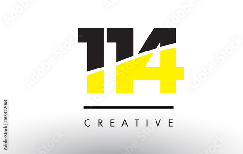 Papel de parede  114 Black and Yellow Number Logo Design.