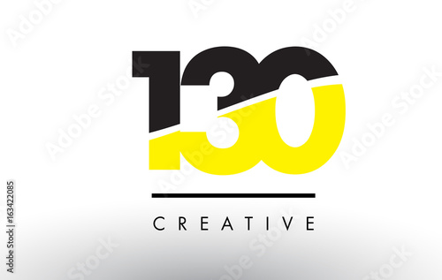 Fotografia  130 Black and Yellow Number Logo Design.