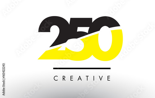 Fotografia  250 Black and Yellow Number Logo Design.