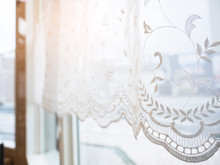 Lace Curtain Window Frame With...