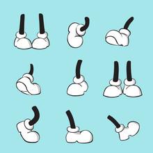 Cartoon Leg Collection, Comical Feet Vector Set