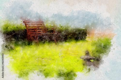 Fotobehang Zwavel geel Steel chair in city garden with Waterpaint effect