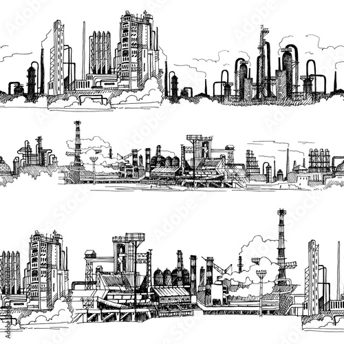 zaklad-chemiczny-produkcja-polimerow-recznie-rysowane-szkic-wektor-bez-szwu-granicy