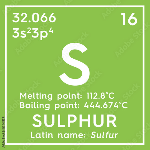 Sulphur Sulfur Other Nonmetals Chemical Element Of Mendeleevs