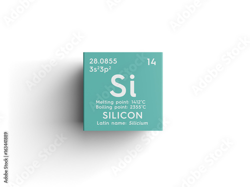 Obraz Silicon. Silicium. Metalloids. Chemical Element of Mendeleev's Periodic Table. Silicon in square cube creative concept. - fototapety do salonu