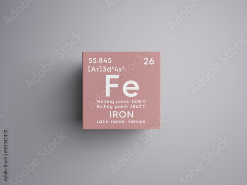 Iron Ferrum Transition Metals Chemical Element Of Mendeleev S Periodic Table In