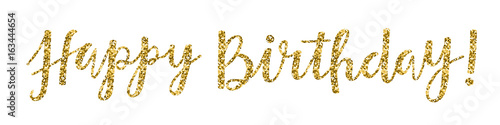 """Canvas Print """"HAPPY BIRTHDAY"""" Hand Lettering Banner in Gold Glitter"""
