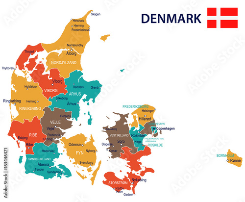 Denmark - map and flag illustration Tablou Canvas