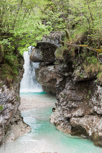 Waterfalls. Crystalline water. Mountain creek. Chiusaforte, Friuli